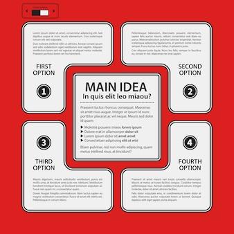 Plantilla de diseño corporativo sobre fondo rojo. colores blanco y negro útil para publicidad, presentaciones y diseño web.