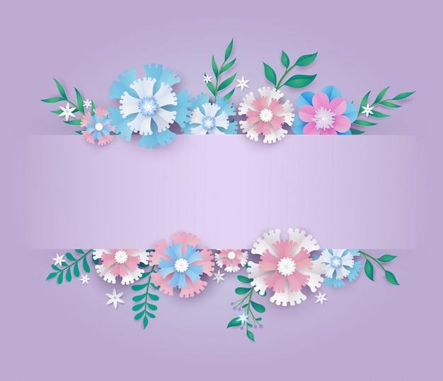 Plantilla en diseño de corte de papel de flor.