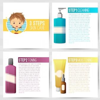 La plantilla de diseño cuadrado de folletos, folletos, carteles, pancartas sobre cosméticos. cuidado de la piel en tres pasos. diseño con botellas de cosméticos decorativos. vector.