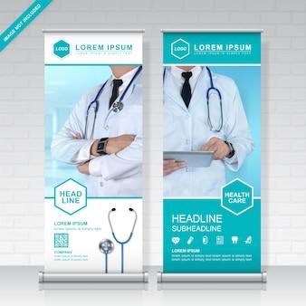 Plantilla de diseño de cuidado de la salud y médica roll up