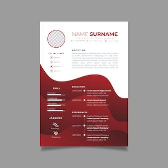 Plantilla de diseño de currículum profesional con estilo minimalista