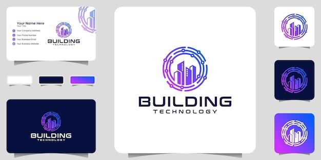 Plantilla de diseño de datos de círculo de tecnología y logotipo de construcción y tarjeta de visita