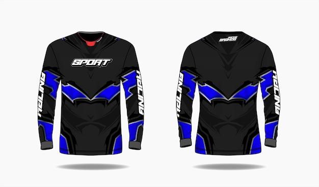 Plantilla de diseño deportivo de camiseta, vista frontal y posterior uniforme de plantilla de manga larga.
