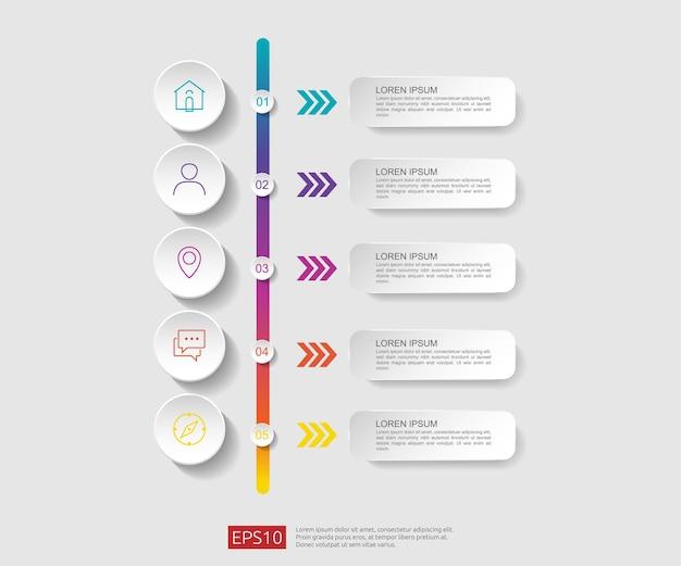 Plantilla de diseño de diagrama de flujo de infografía de 5 pasos