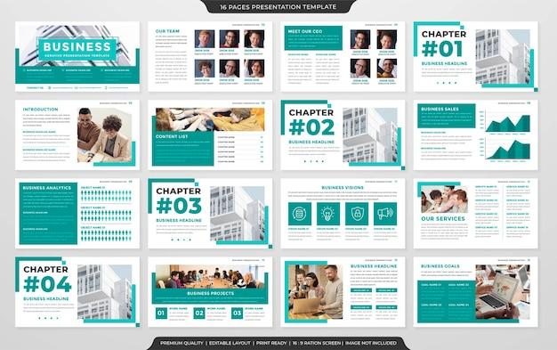 Plantilla de diseño de diapositiva de presentación minimalista vector premium