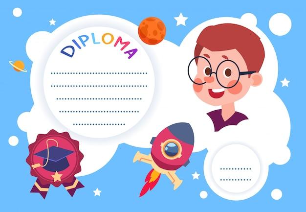 Plantilla de diseño de dibujos animados de certificado de preescolar de graduación de jardín de infantes