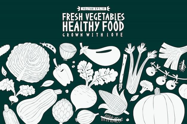 Plantilla de diseño de dibujos animados dibujados a mano verduras