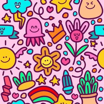Plantilla de diseño de dibujos animados patrón doodle