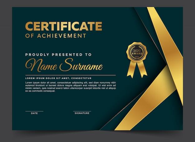 Plantilla de diseño de diploma de certificado premium