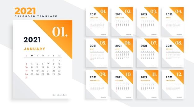 Plantilla de diseño elegante de calendario de año nuevo limpio 2021