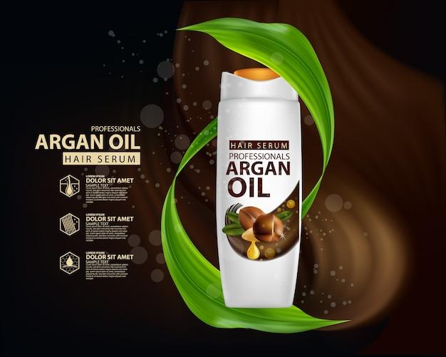 Plantilla de diseño de empaque de champú para el cuidado del cabello con aceite de argán