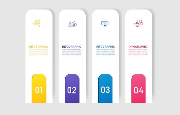 Plantilla de diseño empresarial 4 opciones de infografía para presentaciones.