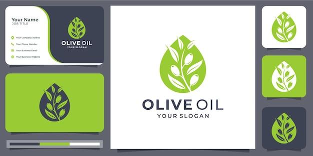 Plantilla de diseño esencial de aceite de oliva. combinación de aceite y oliva en forma de silueta. belleza, naturaleza, verde, hoja, moderno y elegante. logo con tarjeta de visita