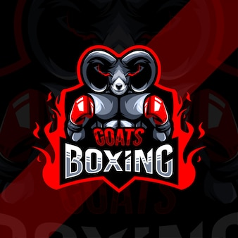 Plantilla de diseño de esport de logotipo de mascota de boxeo de cabra