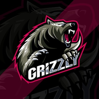 Plantilla de diseño de esports del logotipo de la mascota del grizzly enojado