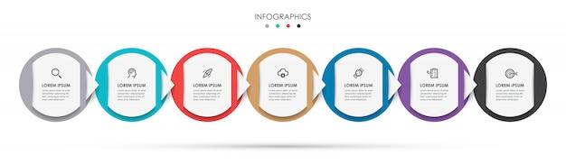 Plantilla de diseño de etiqueta de infografía con iconos y 7 opciones o pasos.
