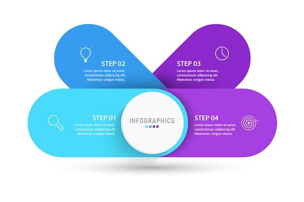 Plantilla de diseño de etiqueta infográfica con iconos y 4 opciones o pasos.