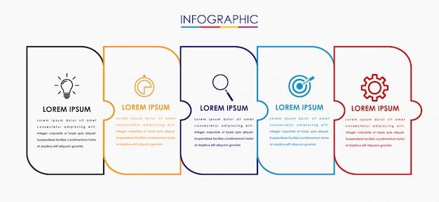 Plantilla de diseño de etiqueta vector infografía con iconos