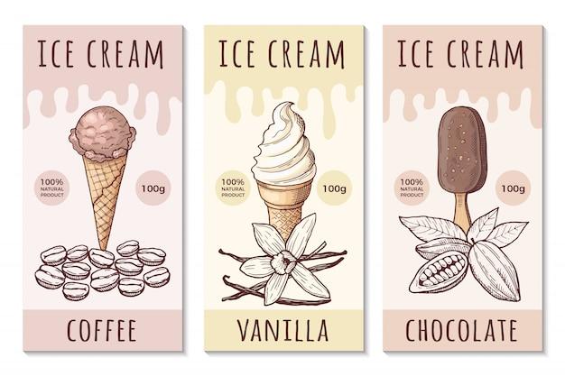 Plantilla de diseño de etiquetas de helado con ilustraciones dibujadas a mano.