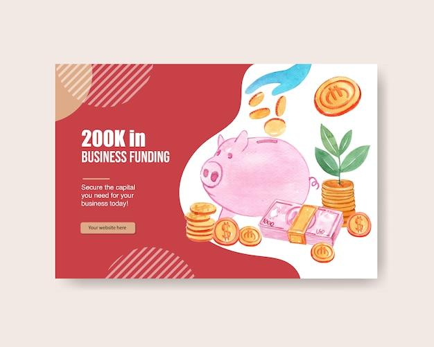 Plantilla de diseño de facebook con hucha con monedas acuarela ilustración dibujada a mano