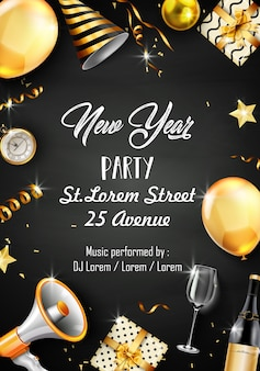 Plantilla de diseño de fiesta de año nuevo con elementos