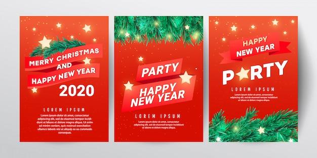 Plantilla de diseño de fiesta de navidad con rama de abeto, estrellas y regalos rojos sobre fondo rojo
