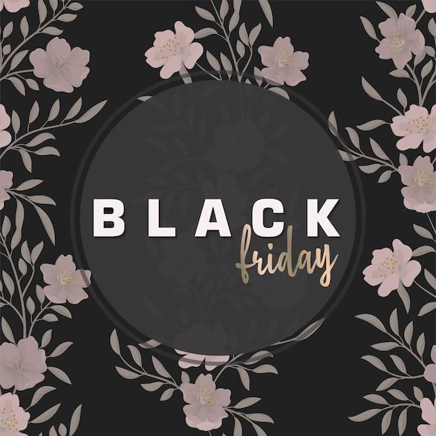 Plantilla de diseño floral para venta de viernes negro, ilustración vectorial