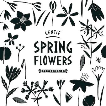 Plantilla de diseño de flores de primavera.