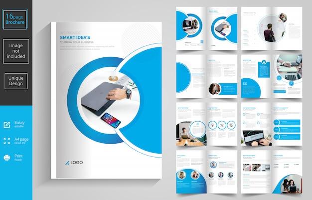 Plantilla de diseño de folleto de 16 páginas de negocios