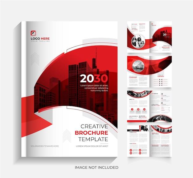 Plantilla de diseño de folleto de 8 páginas de negocios corporativos