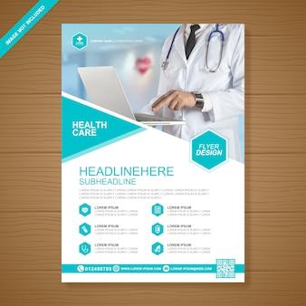 Plantilla de diseño de folleto de atención médica y cubierta médica