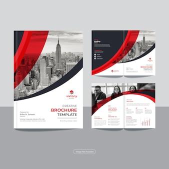 Plantilla de diseño de folleto comercial bi fold corporativo limpio