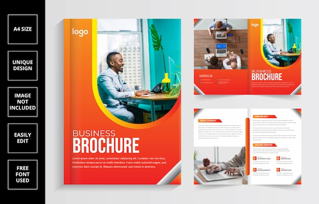 Plantilla de diseño de folleto comercial bi-fold