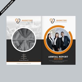 Plantilla de diseño de folleto comercial de círculo naranja