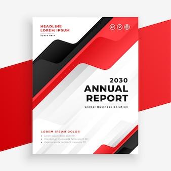 Plantilla de diseño de folleto comercial de informe anual de color rojo