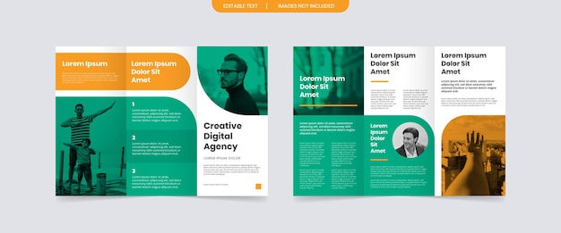 Plantilla de diseño de folleto comercial tríptico moderno