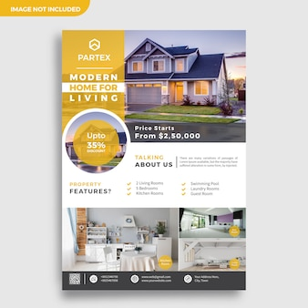 Plantilla de diseño de folleto de corredor inmobiliario moderno
