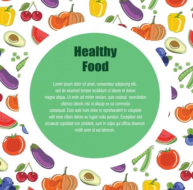 Plantilla de diseño de folleto con la decoración de la fruta.
