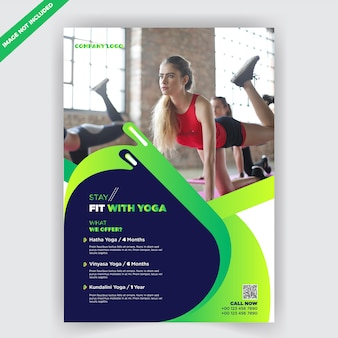 Plantilla de diseño de folleto de fitness de yoga