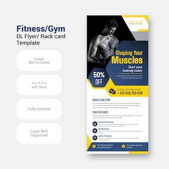 Plantilla de diseño de folleto de flyer dl moderno fitness gym sports