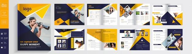 Plantilla de diseño de folleto de fotografía 16 páginas