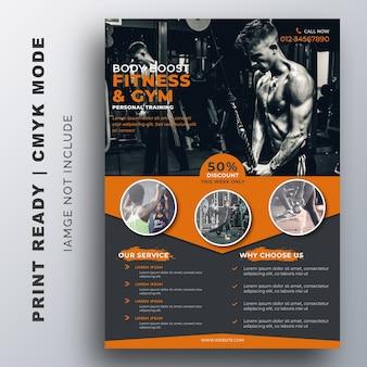 Plantilla de diseño de folleto de gimnasio gym