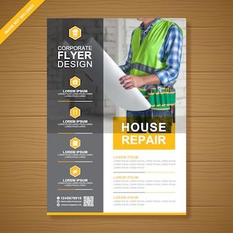 Plantilla de diseño de folleto de herramientas de construcción