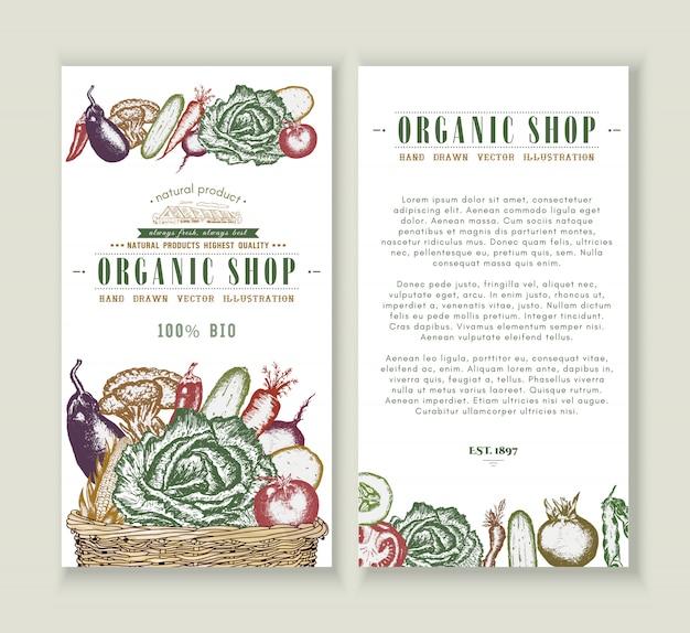 Plantilla de diseño de folleto de mercado de verduras