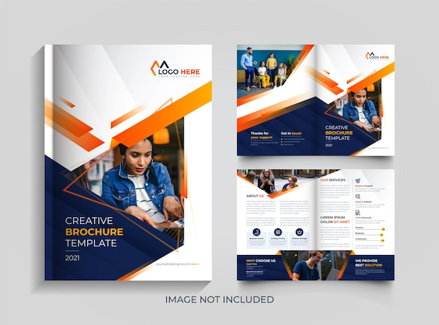 Plantilla de diseño de folleto naranja y azul corporativo moderno de doble pliegue