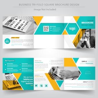 Plantilla de diseño de folleto de negocio tríptico cuadrado
