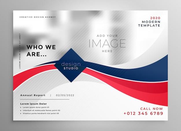 Plantilla de diseño de folleto de negocios ondulado rojo y azul