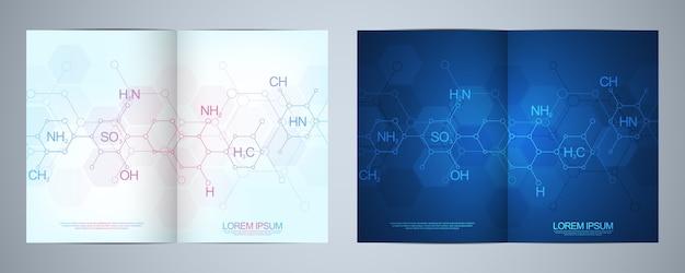 Plantilla de diseño de folleto o portada, libro, volante con antecedentes de química abstracta y fórmulas químicas. concepto e idea de ciencia e innovación tecnológica.