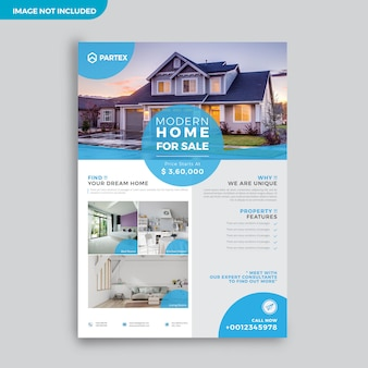 Plantilla de diseño de folleto de publicidad de agente inmobiliario moderno