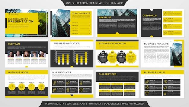 Plantilla de diseño de folletos, presentación corporativa de negocios con múltiples páginas